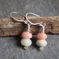 Silver Earrings, amazonite & rose jade dangly earrings