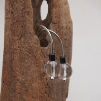silver earrings, crystal drop earrings