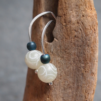 Dangle drop earrings, jade earrings