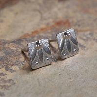 Studs, square Argentium silver stud earrings