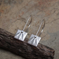 Silver drop earrings, leaf design earrings