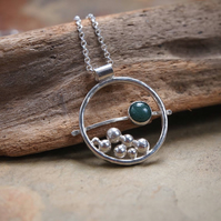 Silver pendant, green moss agate pendant