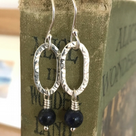 silver earrings, lapis lazuli hoop earrings