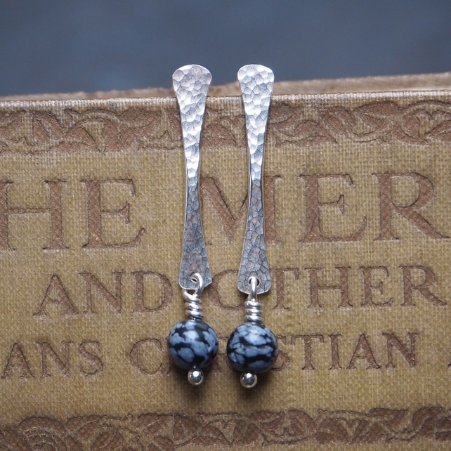 Silver rod stud earrings with snowflake obsidian