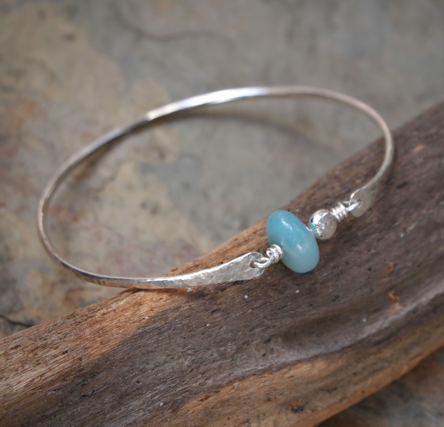 Silver Bangle, Amazonite Bangle, hammered silver, handmade jewellery