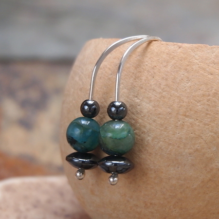 Silver azurite earrings, sterling silver drop earrings