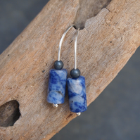 Silver drop earrings, argentium silver & sodalite drop earrings