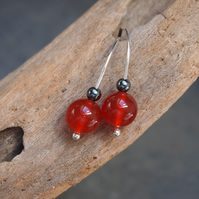 Silver drop earrings, sterling silver & carnelian drop earrings