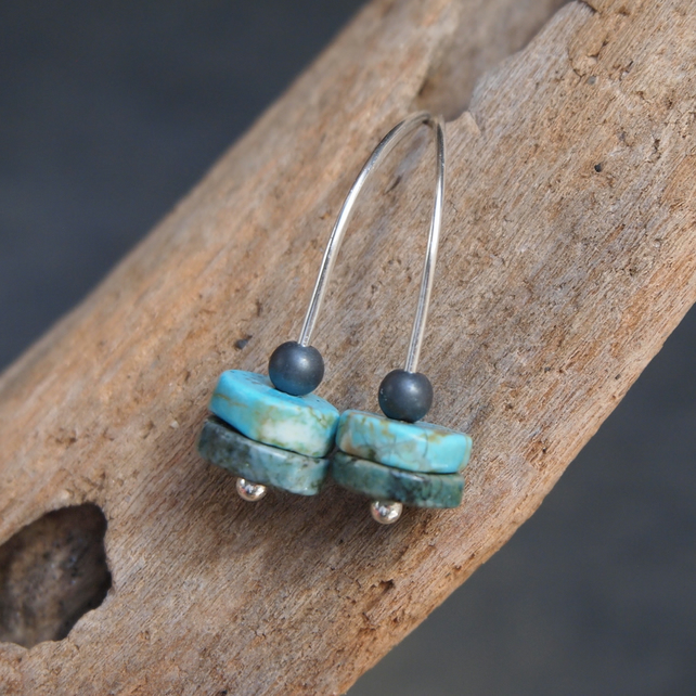 Silver drop earrings, argentium silver turquoise magnesite drop earrings