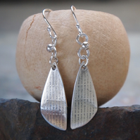Silver dangle earrings, wing earrings