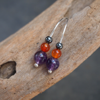 Silver drop earrings, Sterling silver amethyst carnelian drop earrings