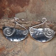 Large Silver Earrings, Silver Spiral Earrings