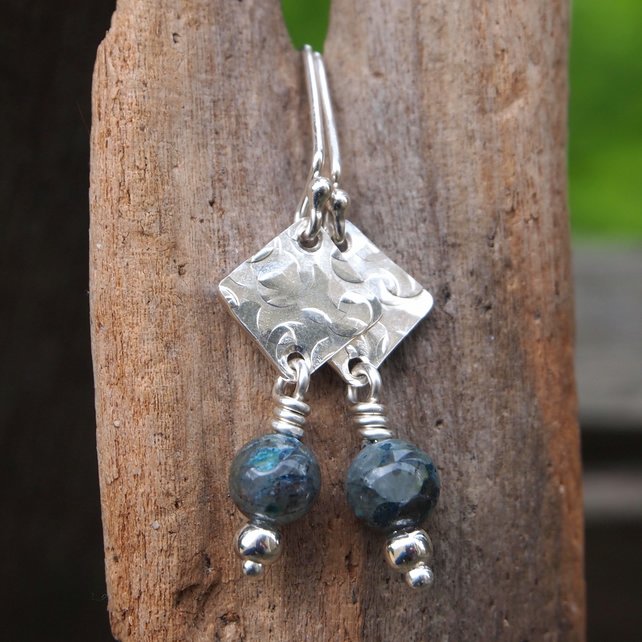 Silver dangle earrings, green azurite earrings