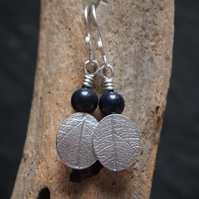 Silver Leaf Earrings, blue goldstone earrings