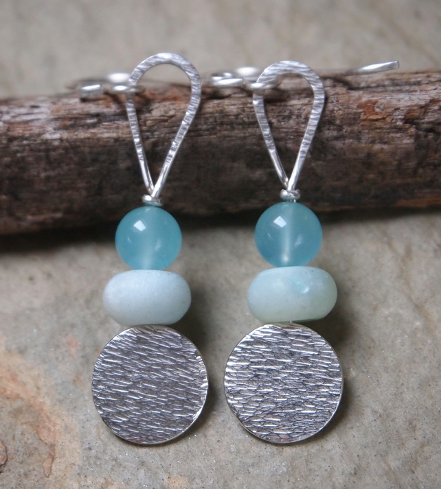 Earrings, Silver Frosted Amazonite Earrings