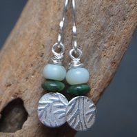 Earrings, silver leaf earrings, green jade earrings
