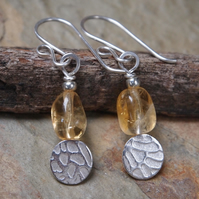 Earrings, silver disc earrings, citrine earrings, November birthstone