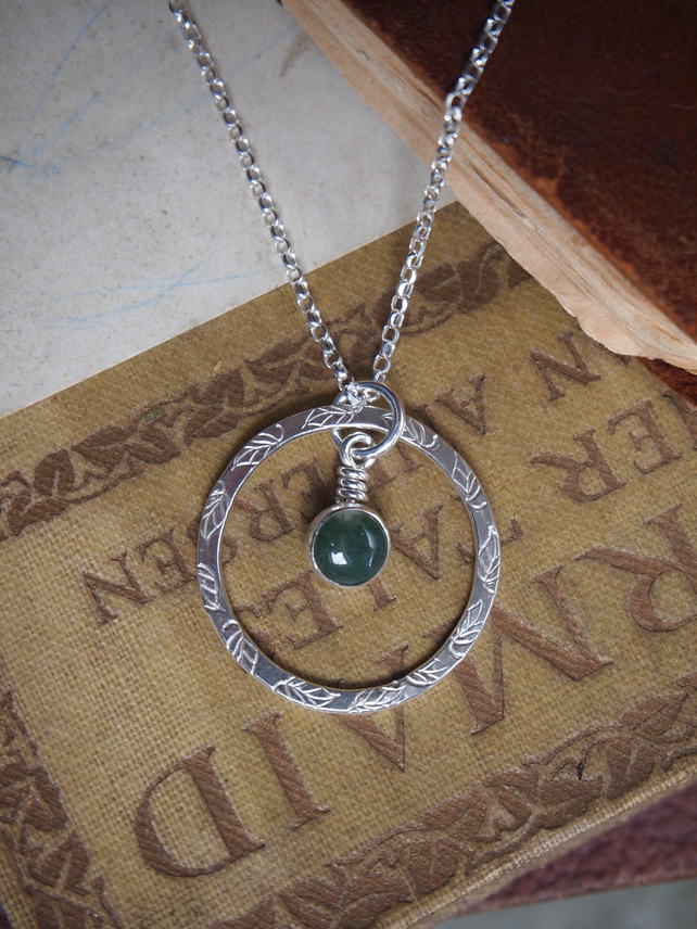 Silver ring pendant, green moss agate necklace pendant
