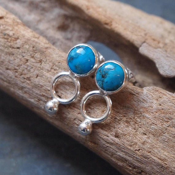 Turquoise stud earrings, silver earrings, December birthstone