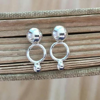 studs, silver stud earrings, pebble stud earrings