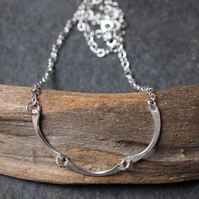 silver necklace, forged necklace