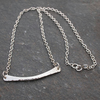 Hallmarked silver bar necklace, arc jewellery