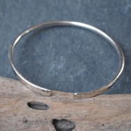 Bangle, Sterling silver forged bangle
