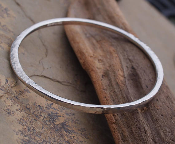 silver bangle, hammered bangle