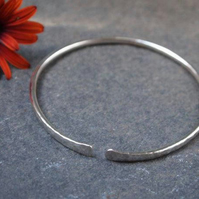 Silver bangle, hammered silver bangle