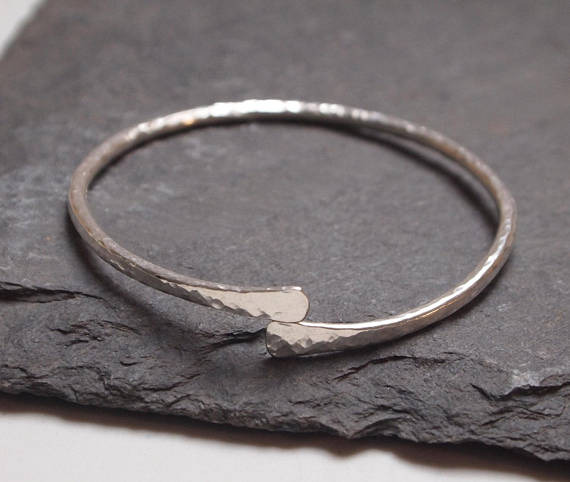 Sterling silver bangle - silver forged bangle