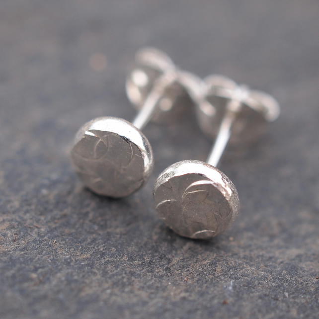 silver pebble stud earrings, small silver studs
