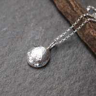 Solid Silver Pebble Pendant, Silver Pebble Necklace