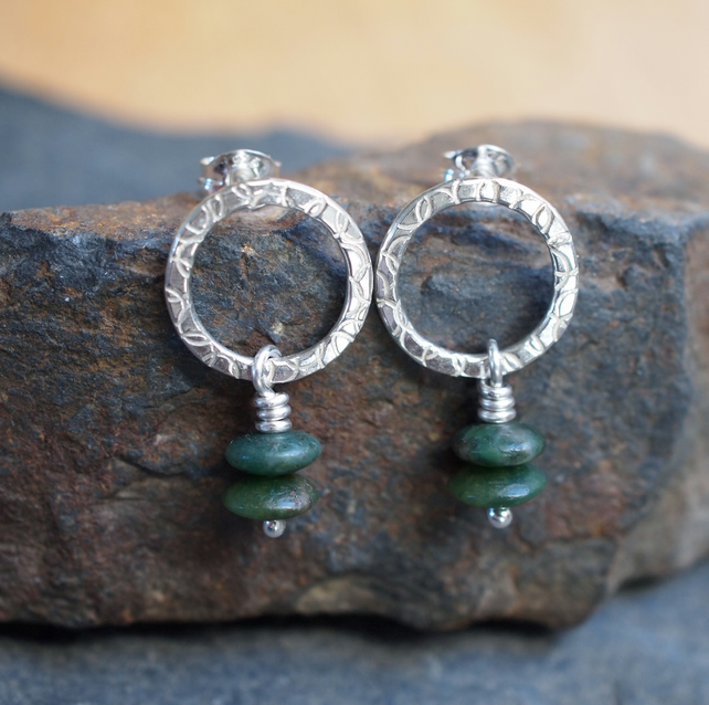 Silver hoop stud earrings, jade earrings