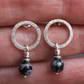Silver stud earrings, ring earrings, snowflake obsidian earrings