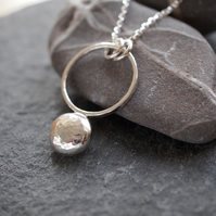 Sterling Silver Pebble Ring Pendant, Silver Hammered Pendant, Handmade Jewellery