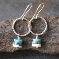 Silver hoop earrings, turquoise magnesite earrings, dangle earrings