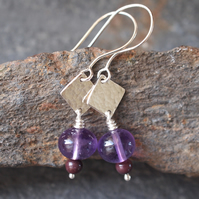 Amethyst earrings, sterling silver dangle earrings, hammered silver