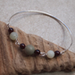 Silver Bangle with Garnet, Jade & Picasso, Skinny Stacking Bangle