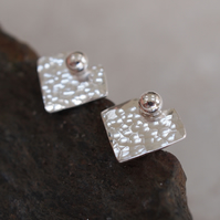 Square Stud Earrings, Silver studs, Square, Heart, Arrow