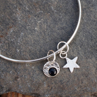 sterling silver bangle, silver star bangle, midnight blue goldstone, handmade