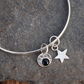 sterling silver bangle, silver star bangle, blue goldstone
