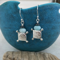 Square silver earrings, silver amazonite earrings