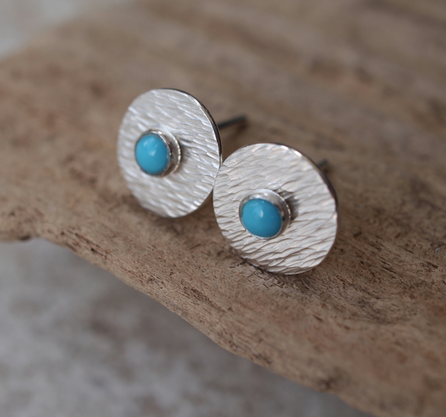 Turquoise Stud Earrings, Silver Studs, Silver Stud Earring Set