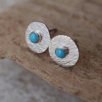 2 in 1 Turquoise Stud Earrings, Silver Studs, Silver Stud Earring Set