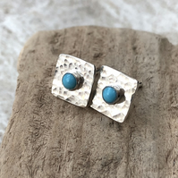 2 in1 Turquoise Stud Earrings, Silver Studs, Silver Stud Earring Set