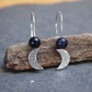 Silver moon earrings, Crescent moon earrings, Silver moon
