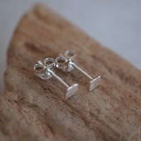 Tiny Sterling Silver Square Stud Earrings, Small Studs