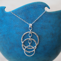 Silver ring necklace, ring pendant, silver.