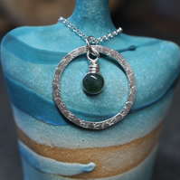 Green Moss Agate Silver Ring Pendant, Silver Necklace