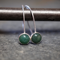 Silver earrings, green moss agate earrings